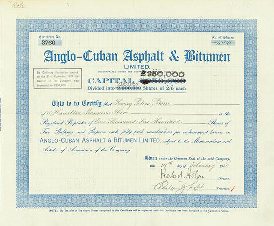 Anglo-Cuban Asphalt & Bitumen Limited