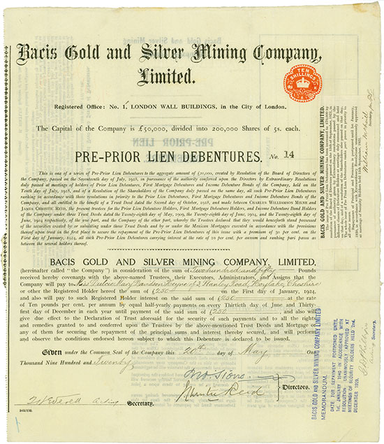 Bacis Gold and Silver Mining Company, Limited