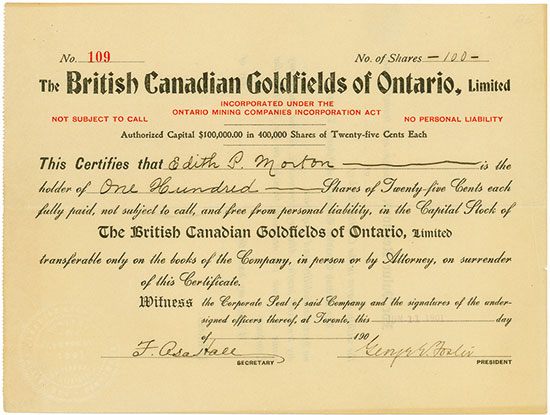 British Canadian Goldfields of Ontario, Limited