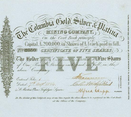 Columbia Gold, Silver & Platina Mining Company