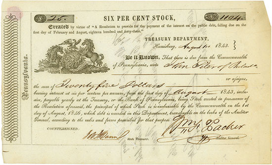Commonwealth of Pennsylvania - Six Per Cent Stock
