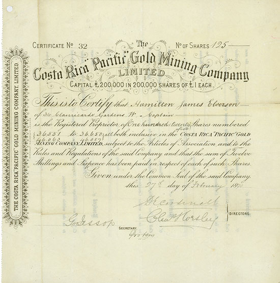 Costa Rica Pacific Gold Mining Company, Limited
