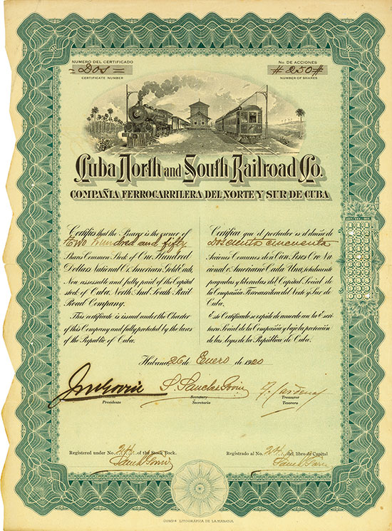 Cuba North and South Railroad Co. / Compañia Ferrocarrilera del Norte y Sur de Cuba