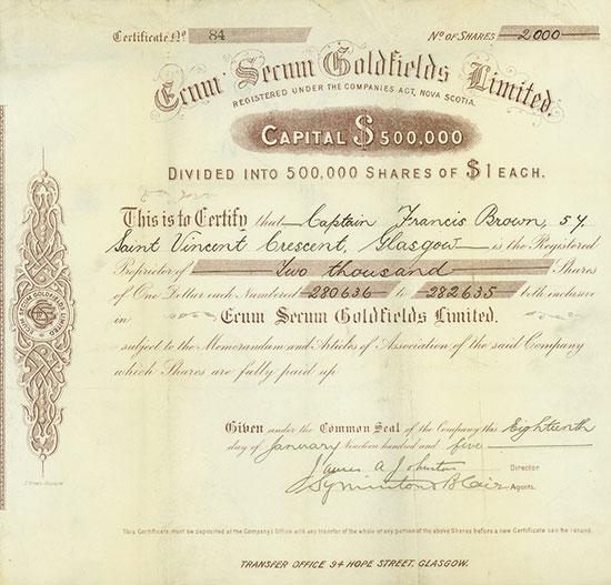 Ecum Secum Goldfields Limited