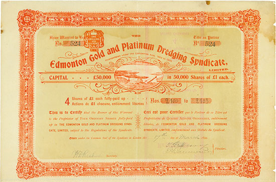 Edmonton Gold and Platinum Dredging Syndicate, Limited