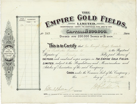 Empire Gold Fields, Limited