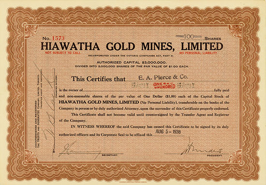 Hiawatha Gold Mines, Limited