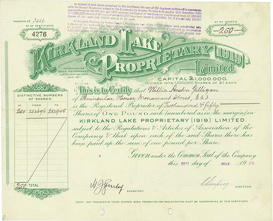 Kirkland Lake Proprietary (1919) Limited