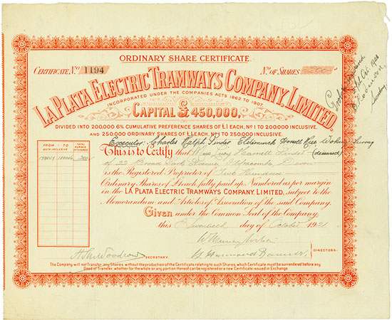 La Plata Electric Tramways Company, Limited