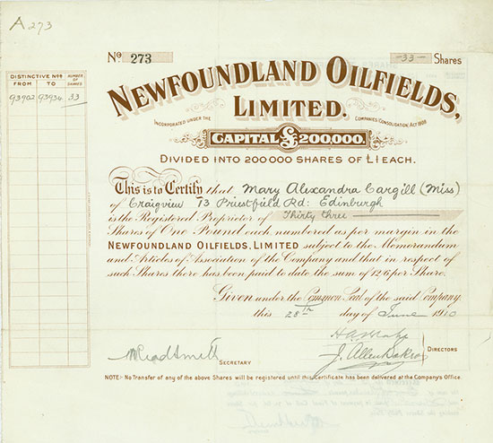 Newfoundland Oilfields, Limited