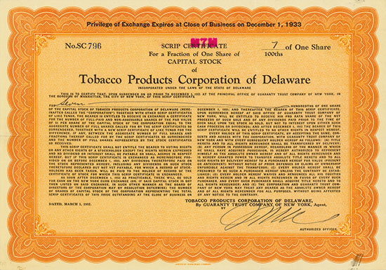 Tobacco Products Corporation of Delaware