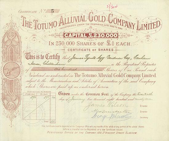 Totumo Alluvial Gold Company Limited