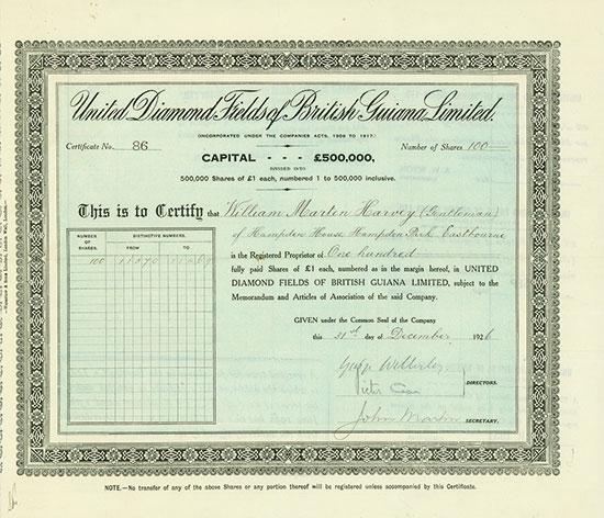 United Diamond Fields of British Guiana, Limited