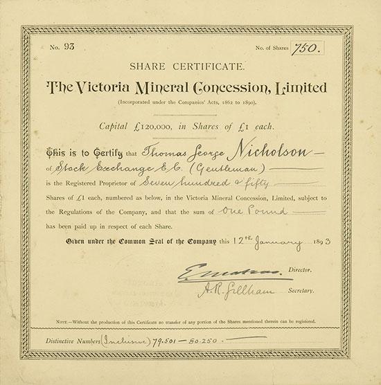 Victoria Mineral Concession, Limited