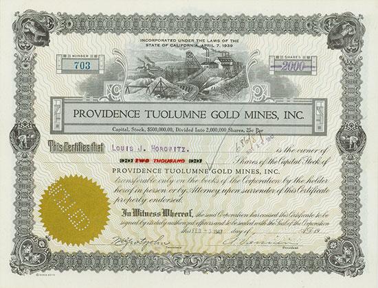Providence Tuolumne Gold Mines, Inc.