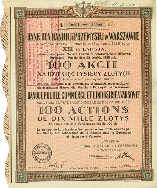 Bank dla Handlu i Przemyslu w Warszawie / Banque pour le Commerce et L'Industrie a Varsovie [10 Stück]