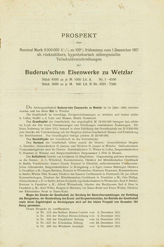 Buderus'sche Eisenwerke zu Wetzlar