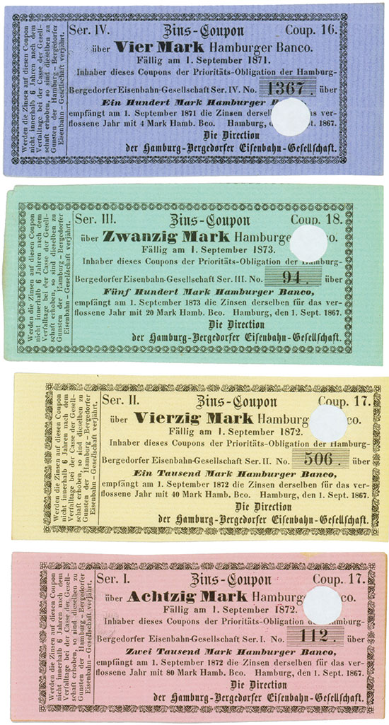 Hamburg-Bergedorfer Eisenbahn-Gesellschaft [4 Stück]