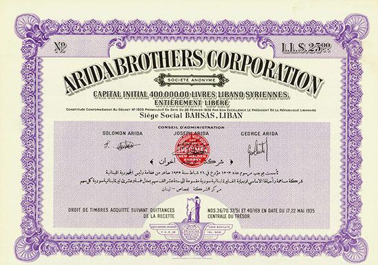 Arida Brothers Corporation Société Anonyme