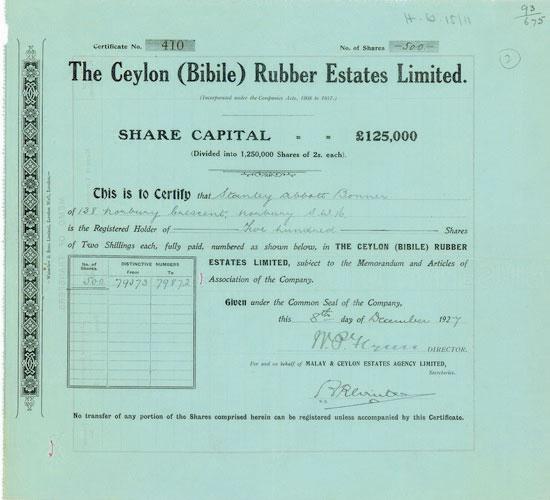 Ceylon (Bibile) Rubber Estates Limited