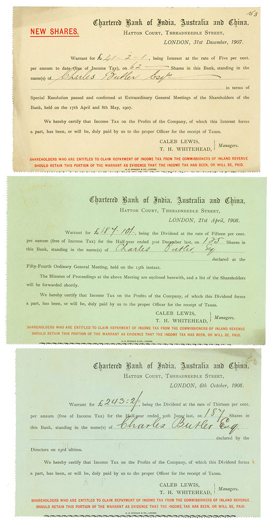 Chartered Bank of India, Australia and China [3 Stück]