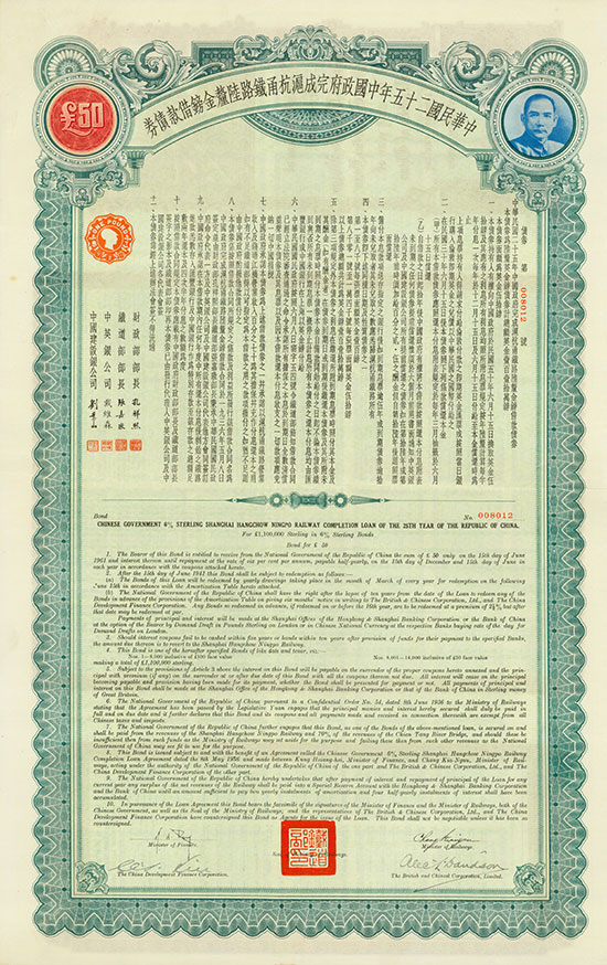 Chinese Government (Shanghai-Hangchow-Ningpo Railway Completion Loan, Kuhlmann 900)