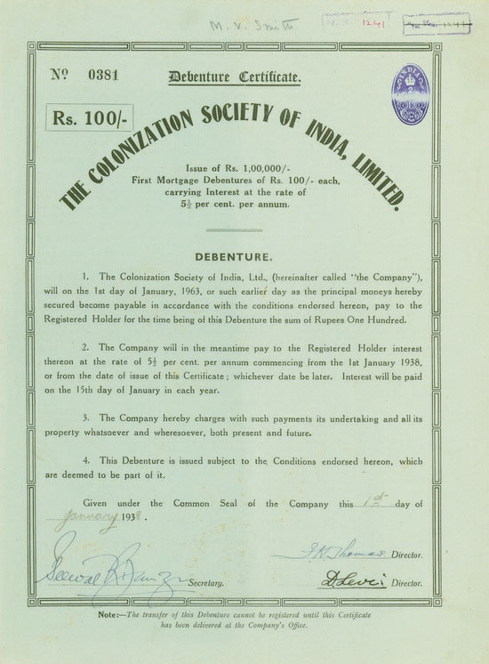 Colonization Society of India, Limited