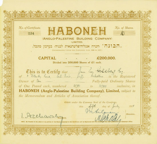 Haboneh (Anglo-Palestine Building Company) Limited