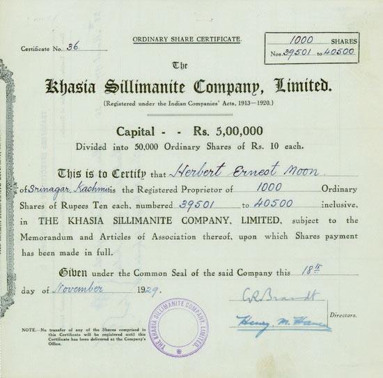 Khasia Sillimanite Company, Limited