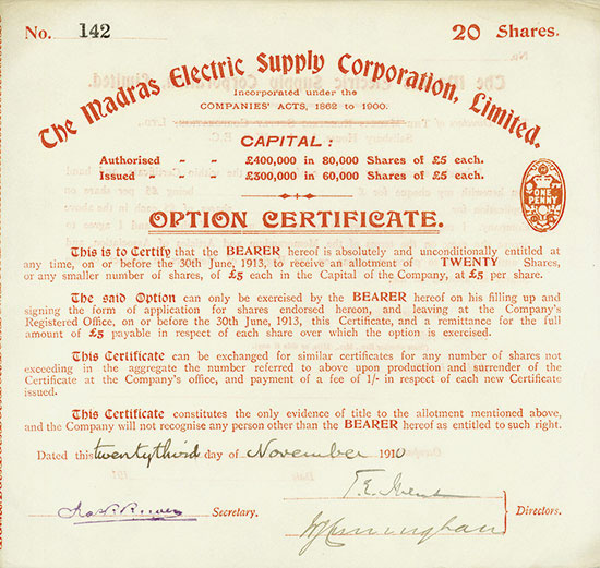 Madras Electric Supply Corporation, Limited
