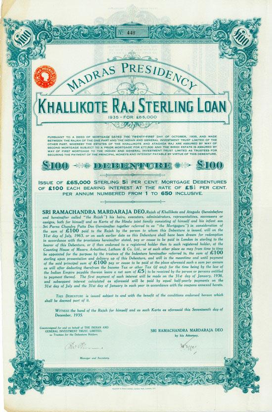 Madras Presidency Kallikote Raj Sterling Loan 1935