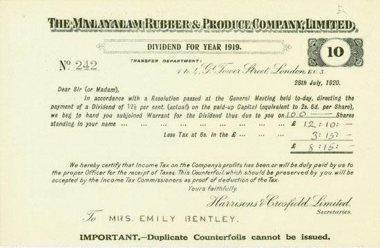 Malayalam Rubber & Produce Company, Limited