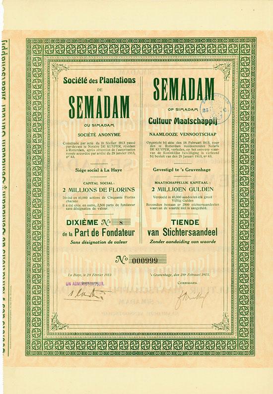 Societe des Plantations de Semadam ou Simadam S.A. / Semadam of Simadam Cultuur Maatschappij N.V.