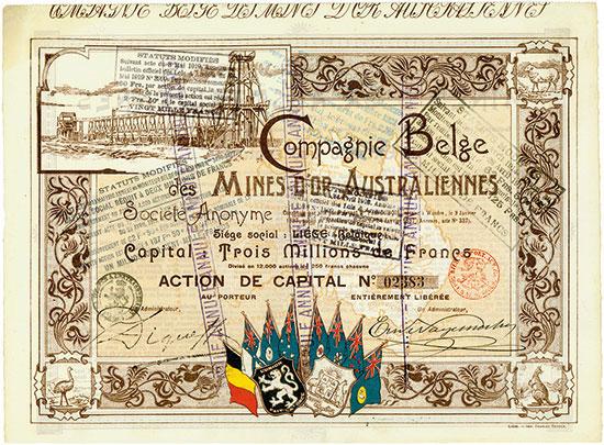 Compagnie Belge des Mines d'or Australiennes [4 Stück]