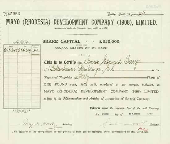 Mayo (Rhodesia) Development Company (1908) Limited