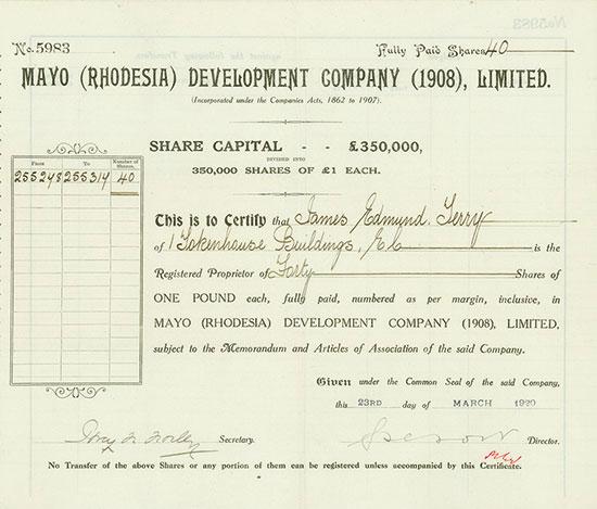 Mayo (Rhodesia) Development Company (1908) Limited