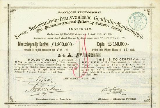 Naamlooze Vennootschap: Eerste Nederlandsch-Transvaalsche Goudmijn-Maatschappij (First Netherlands-Transvaal-Goldmining Company Limited) [2 Stück]