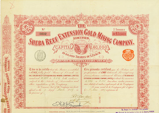 Sheba Reef Extensions Gold Mining Company, Limited