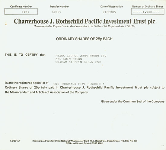 Charterhouse J. Rothschild Pacific Investment Trust plc