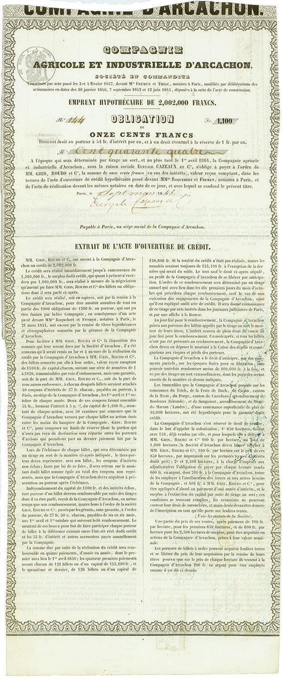 Compangie Agricole et Industrielle d'Arcachon / Société Gris, Roubo et Cie.
