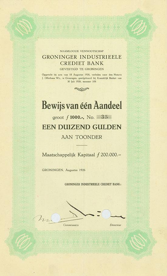 Naamlooze Vennootschap Groninger Industrieele Crediet Bank
