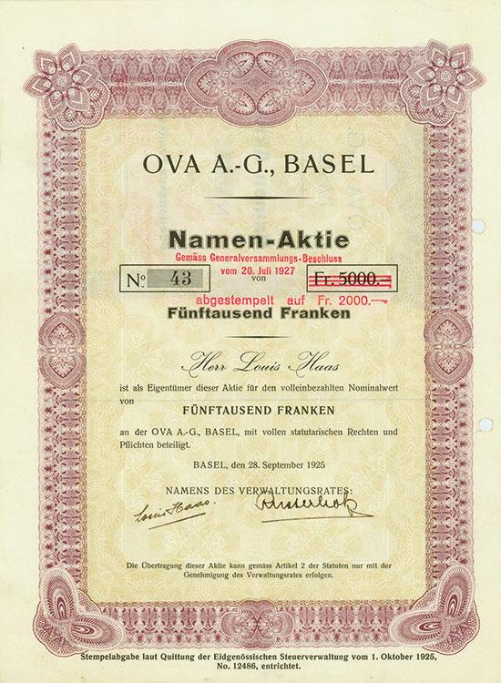 OVA A.-G., Basel