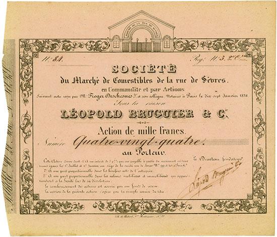 Société du Marché de Comestibles de la rue de Sèvres Sous la raison LÉOPOLD BRUGUIER & Cie.