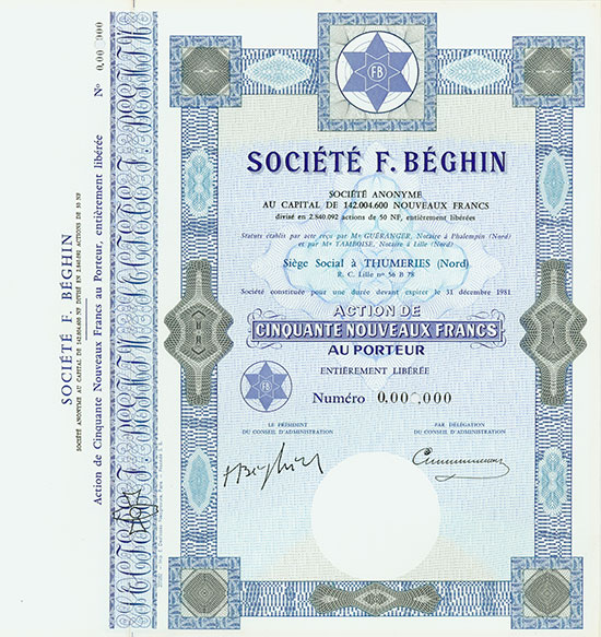 Société F. Béghin Société Anonyme