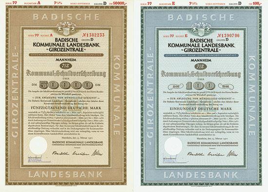 Badische Kommunale Landesbank - Girozentrale [5 Stück]