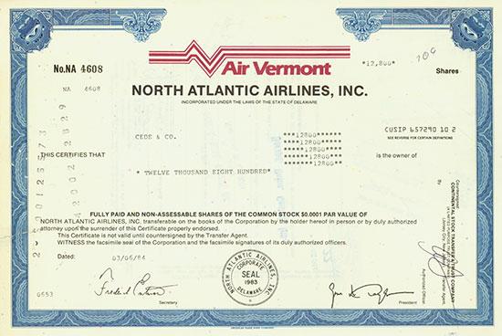 Air Vermont - North Atlantic Airlines, Inc.