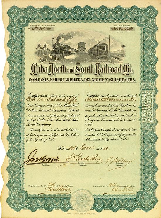 Cuba North and South Railroad Co. / Compañia Ferrocarrilera del Norte y Sur de Cuba