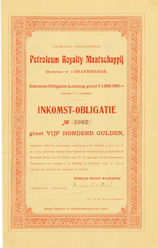 Naamlooze Vennootschap Petroleum Royalty Maatschappij [15 Stück]
