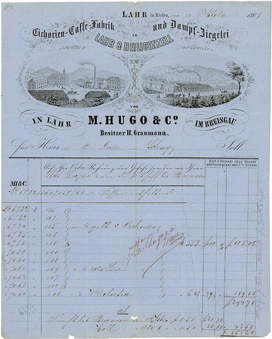 Cichorien-Caffe-Fabrik und Dampf-Ziegelei in Lahr & Heiligenzell von M. Hugo & Co. Besitzer H. Graumann