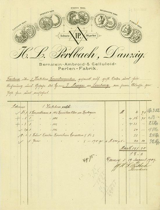 H. L. Perlbach, Danzig, Bernstein-Ambroid- & Celluloid-Perlen-Fabrik